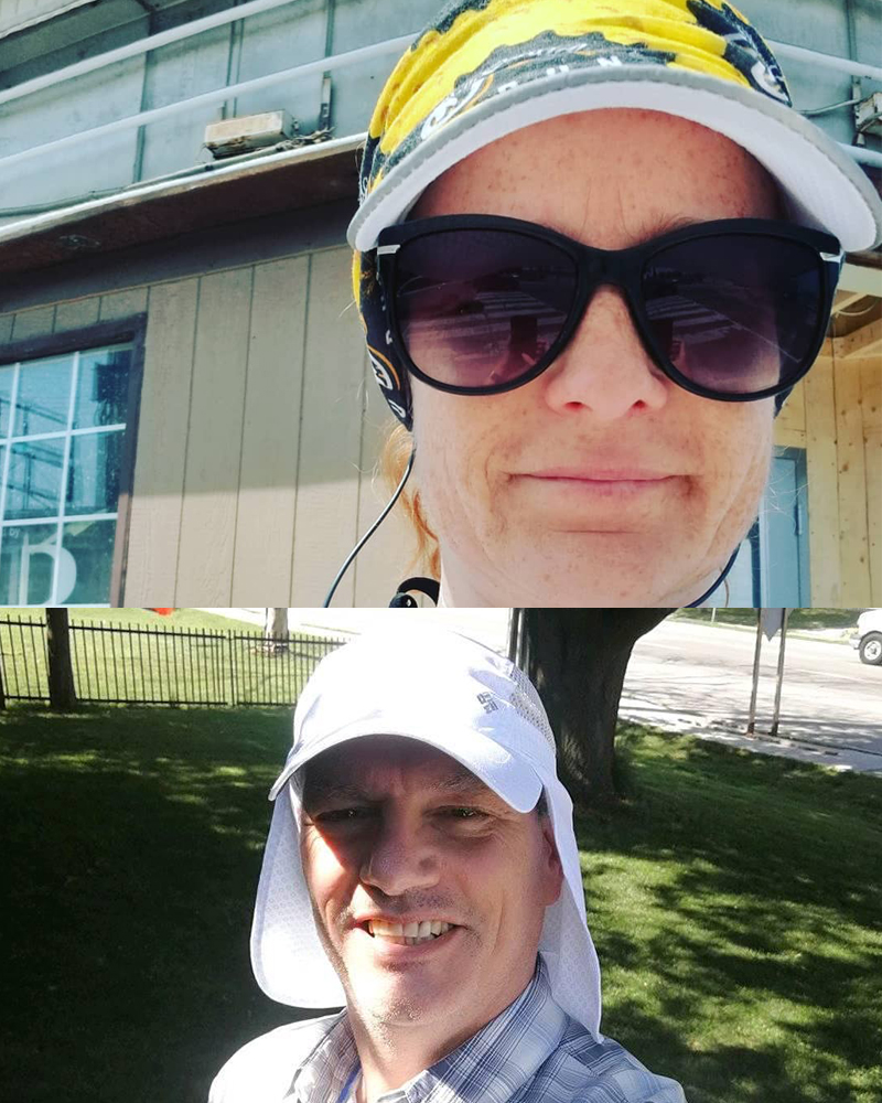Andrea and Tim in their heat training headwear