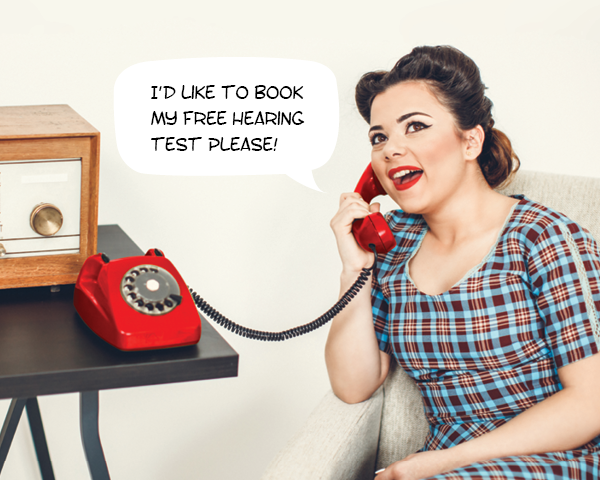 woman on the phone requesting to get her hearing tested
